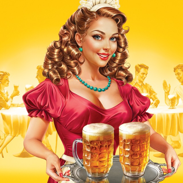 Waitress with beer in the restaurant.