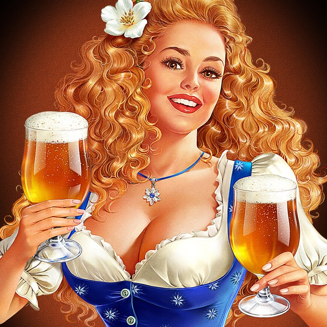 Character for Belgian beer. Illustration for beer label.