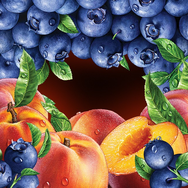 Blueberries, peaches.