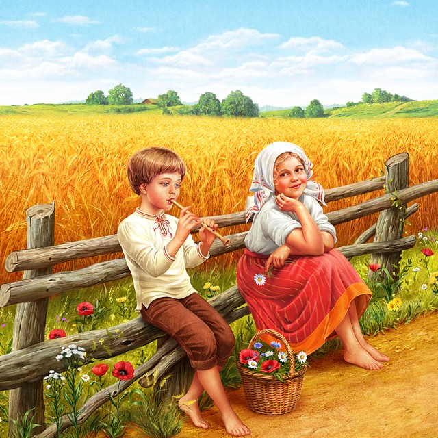 Children in the field. Illustration for packing oatmeal.