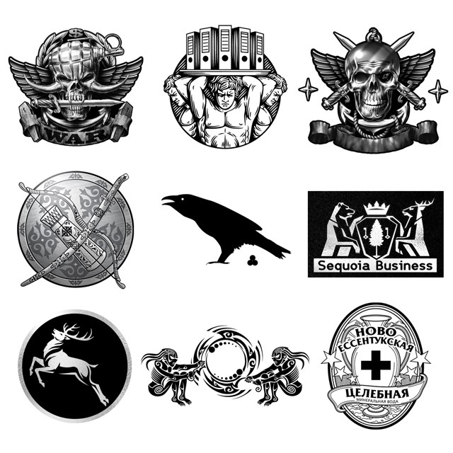 Logos, emblems, coat of arms.