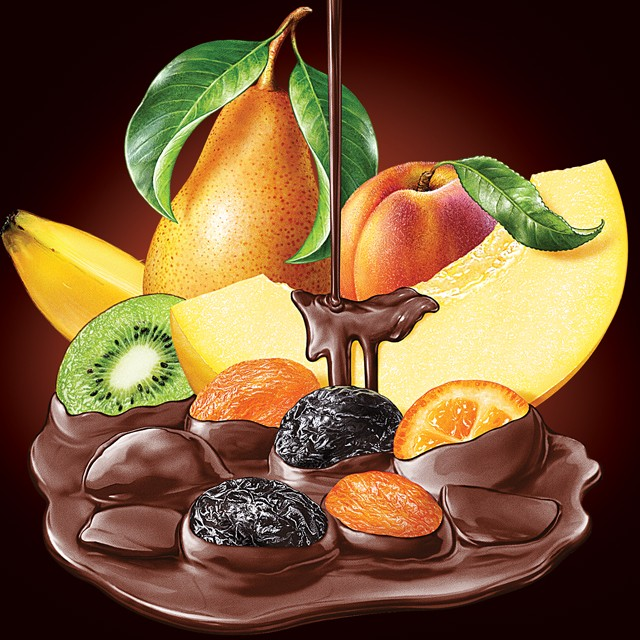 Fruit in chocolate.