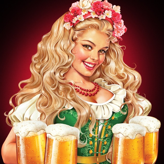Girl with a beer. Illustration for beer label.