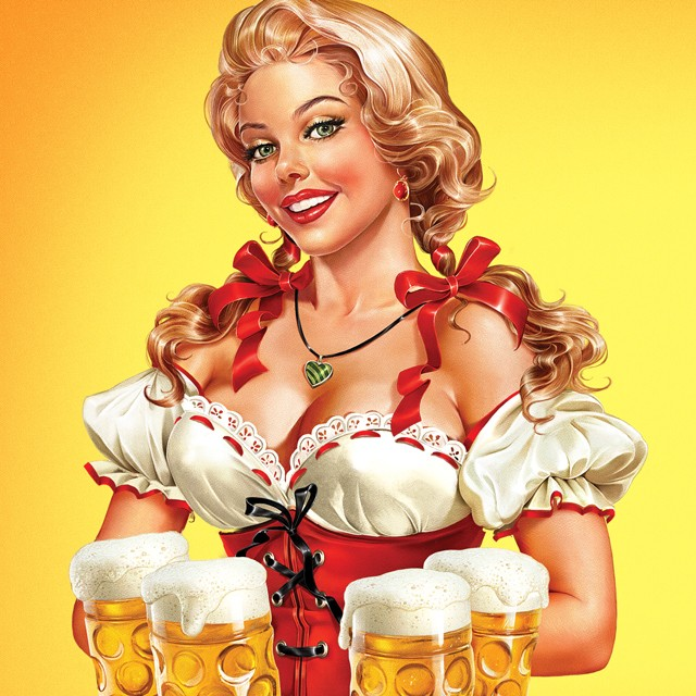 Girl with a beer. Illustration on a beer label.