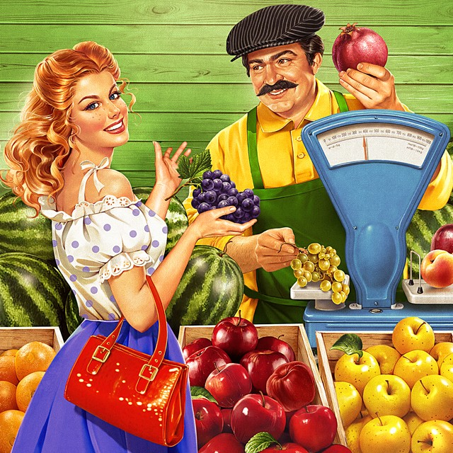A girl is buying grapes. Illustration in the Soviet style.