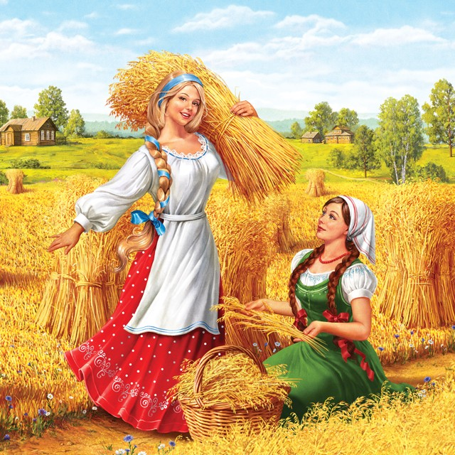 Two Russian girls in the field. Illustration for packing oatmeal.