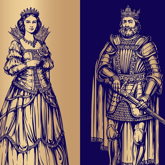 King and queen. Vector.