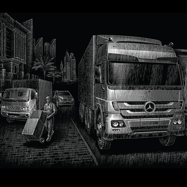 Mercedes. Illustration for advertising.