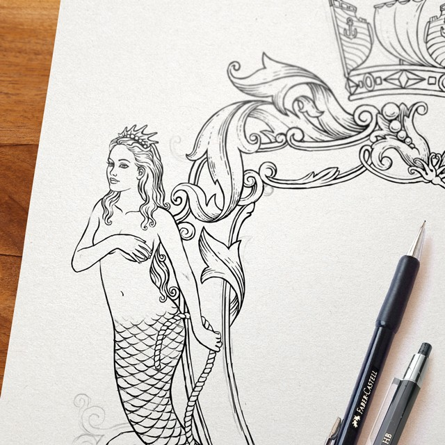 Mermaid. Sketch.