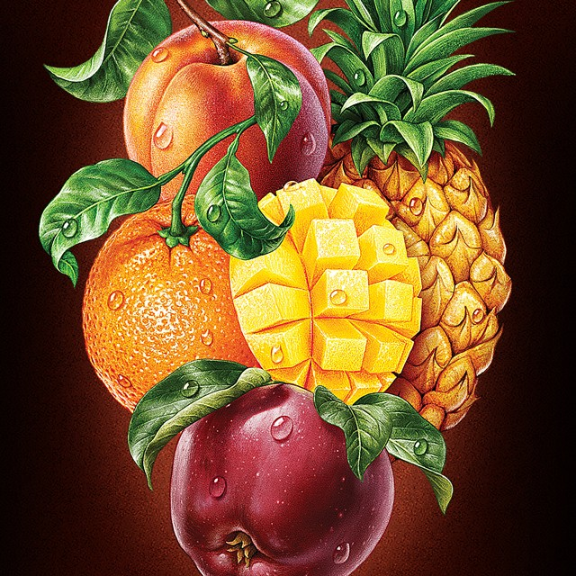 Mix of fruits. Illustration for packing juice.