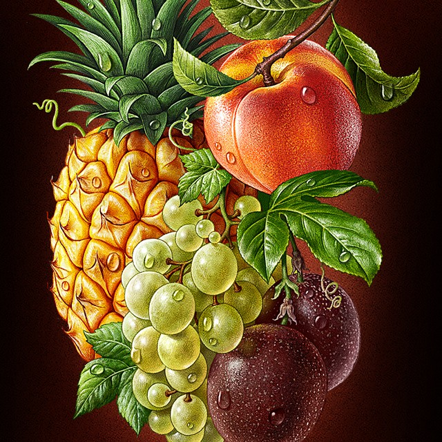 Multifruit. Pineapple, grapes, peach, passion fruit.