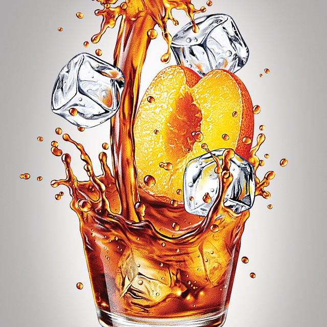 Peach tea. Illustration for packaging of cold tea.