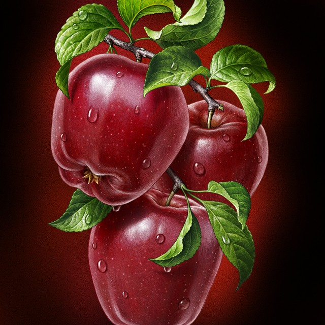 Red apples. Illustration for juice.