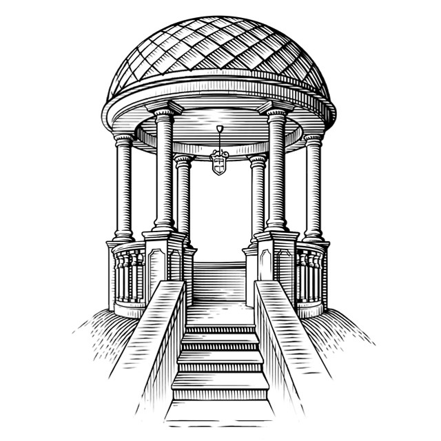 Rotunda. Vector engraving.