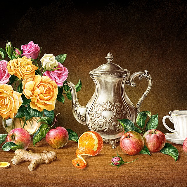 Still life with a teapot, flowers and apples. Illustration for tea packing.
