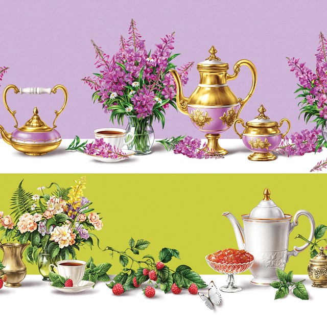 Still lifes. Illustrations for tea packing.