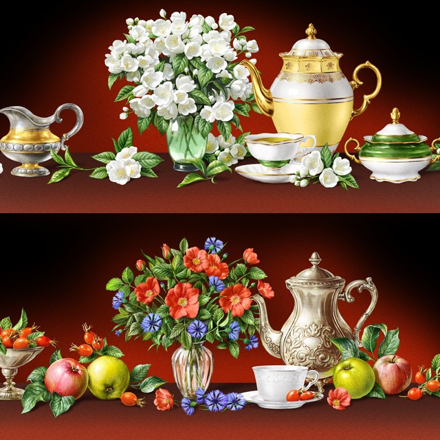 Still lifes with tea. Illustrations for tea packing.