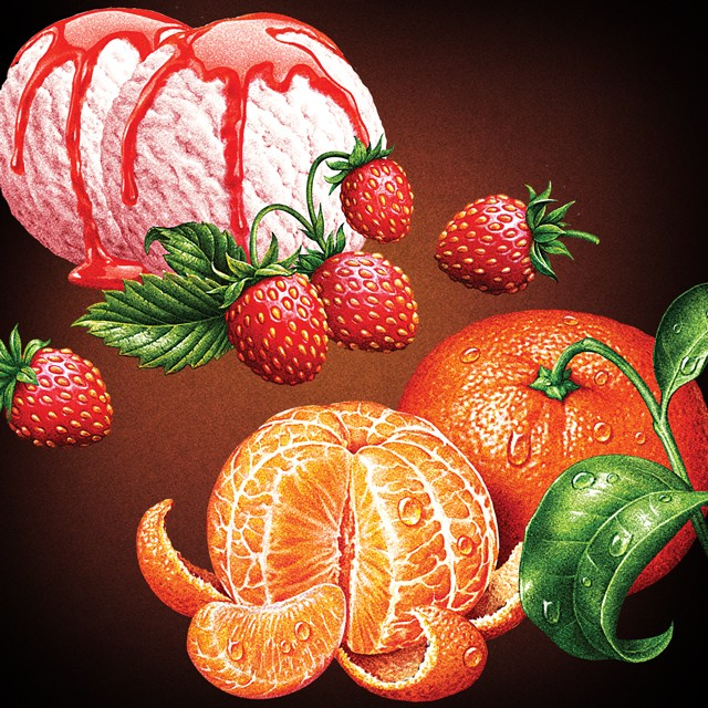 Strawberry sorbet and mandarin. Illustration for tea packing.